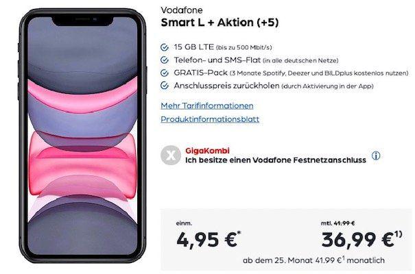 Apple iPhone 11 für 4,95€ + Vodafone Flat mit 15GB LTE für 36,99€ mtl. + Kopfhörer gratis