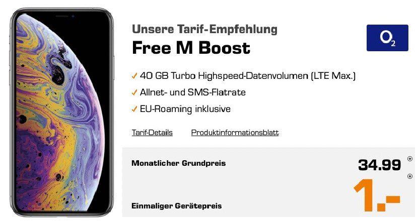 Apple iPhone XS 64GB für 1€ + o2 Allnet Flat mit 40GB LTE für 34,99€ mtl.