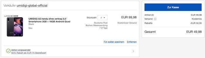 Abgelaufen! 🔥 2x UMIDIGI A3   5,5 Zoll Smartphone mit 16GB für 49,99€ (statt 120€)
