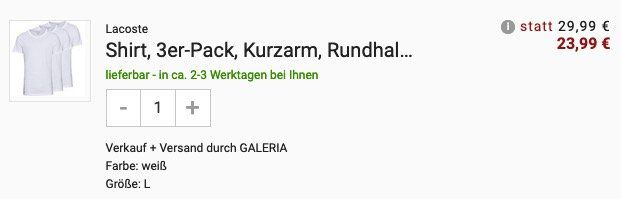 3er Pack Lacoste T Shirts Rundhals oder V Ausschnitt ab 23,99€ (statt 37€)