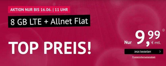 Allnet Flat im O2 Netz mit 8GB LTE 50Mbit für 9,99€   monatlich kündbar + keine AG bei Laufzeit