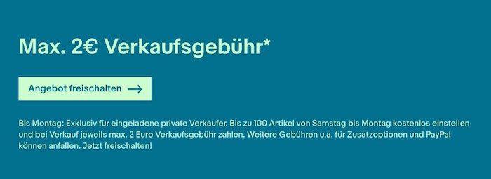 eBay: maximal 2€ Verkaufsgebühr + keine Angebotsgebühr vom 13.06. bis 15.06.2020