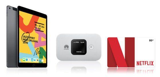 o2 Free Unlimited LTE Max für 39,99€   dazu: Apple iPad 10.2 32GB, LTE Router + 80€ Netflix für 4,95€