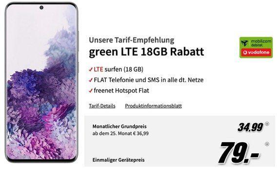 Samsung Galaxy S20 128GB für 79€ + Vodafone Allnet Flat mit 18GB LTE50 für 34,99€ mtl.