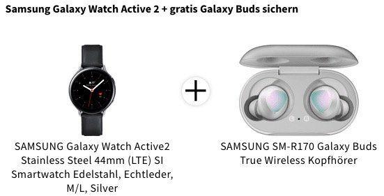 Ausverkauft! Samsung Galaxy Watch Active2 44mm Edelstahl mit Leder Armband ab 289€(statt 319€)   dazu Galaxy Buds gratis!