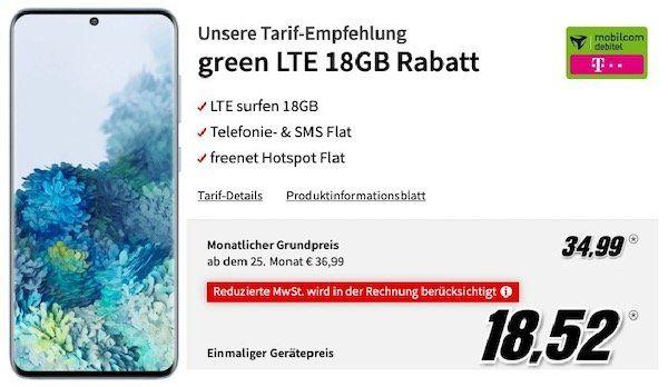 Samsung Galaxy S20 128GB für 18,52€ + Telekom Allnet Flat mit 18GB LTE für 34,99€ mtl.