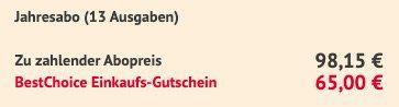 12 Monate Lustiges Taschenbuch für 98,15€ + 65€ BestChoice Gutschein
