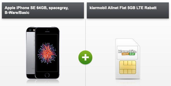 Apple iPhone SE 64GB (alte Version) B Ware für 15€ + Vodafone Flat von klarmobil mit 5GB LTE für 9,99€ mtl.