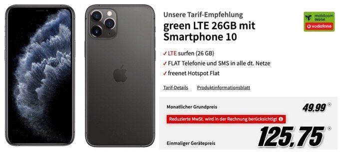 Apple iPhone 11 Pro 64GB für 125,75€ (Vergleich 949€) + Vodafone Allnet mit 26GB LTE50 für 49,99€ mtl.