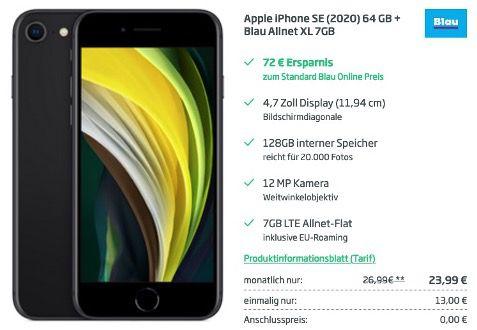 Apple iPhone SE (2020) 128GB für 13€ + Blau.de o2 Flat mit 7GB LTE für 23,99€ mtl.