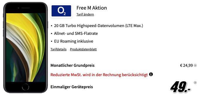 Apple iPhone SE 2020 mit 64GB für 49€ mit O2 Allnet Flat mit 20GB LTE für 24,99€ mtl.