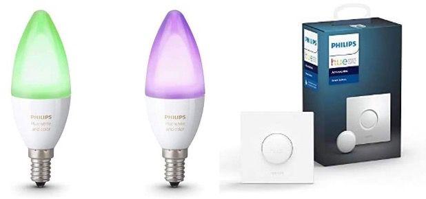 Ausverkauft! 2er Pack Philips Hue White and Color Ambiance E14 + Smart Button für 55,04€ (statt 108€)