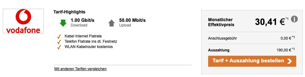Vodafone Red Internet & Phone 1000 Cable effektiv nur 30,41€ mtl. (statt 50€)