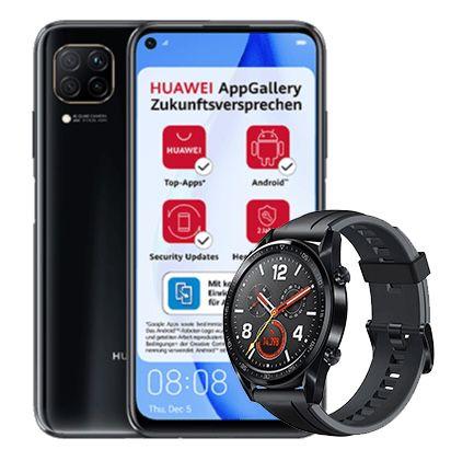 Huawei P40 Lite + Watch GT für 1€ + o2 Flat mit 5GB LTE für 12,99€ mtl.