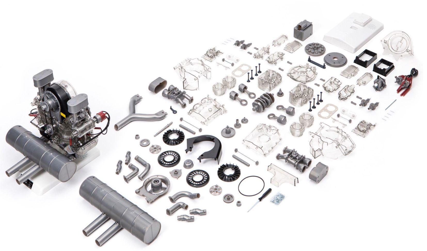 Porsche Carrera Rennmotor Funktionsmodell mit über 300 Bauteilen für 120€ (statt 155€)
