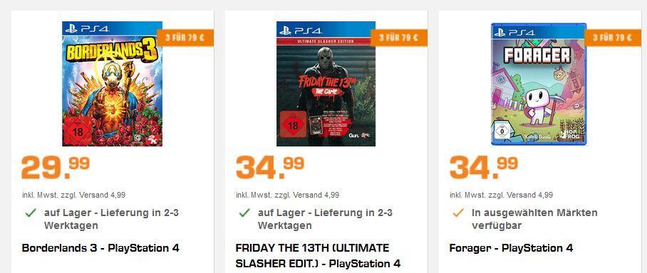 Saturn: 3 Games zum Preis von 79€   PS4, XBox one, PC, Nintendo Spiele