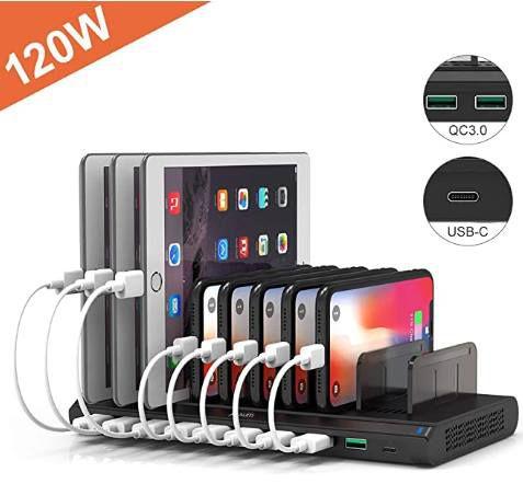 120W USB Ladestation mit 10 USB Ports inkl. 2x QC 3.0 Ports & USB C Port für 69,99€ (statt 100€)