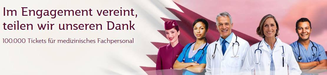 100.000 Frei Tickets für medizinisches Personal bei Qatar Airways
