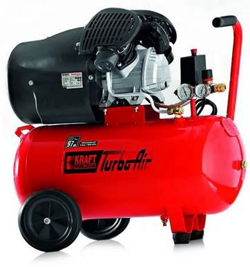 Kraft Werkzeuge Profi Doppelzylinder TurboAir V Kompressor mit 50L, 8 bar & 3PS für 130,25€ (statt 219€)