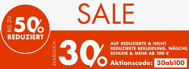 Galeria: 30% Extra Rabatt auf Mode & Accessoires ab 100€ MBW & kostenloser Versand