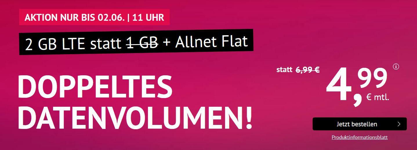 O2 AllNet & SMS Flat + 2GB LTE (max 50MBit/s) für 4,99€ mtl. auch mtl. Kündbar