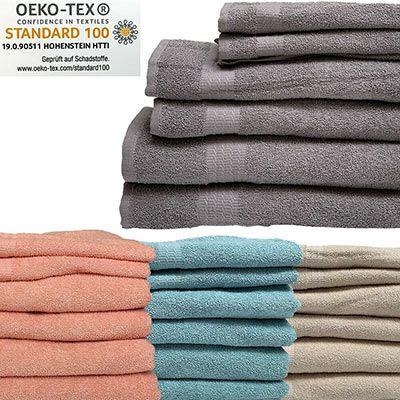 6er Pack Handtücher aus 100% Baumwolle (je 2x Dusch , Hand  & Gästetuch) für 15,99€   3 Farben
