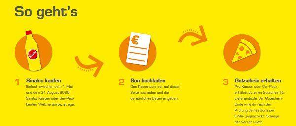 Sinalco kaufen   3€  oder 5€ Lieferando Gutscheine abfassen