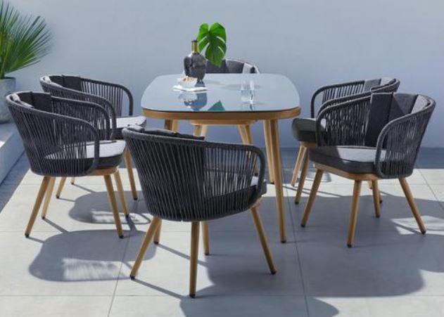 Bessagi Garden Sofia   7 teilige Lounge Garnitur: 6 Stühle, Tisch & Kissen für 489,20€ (statt 639€)