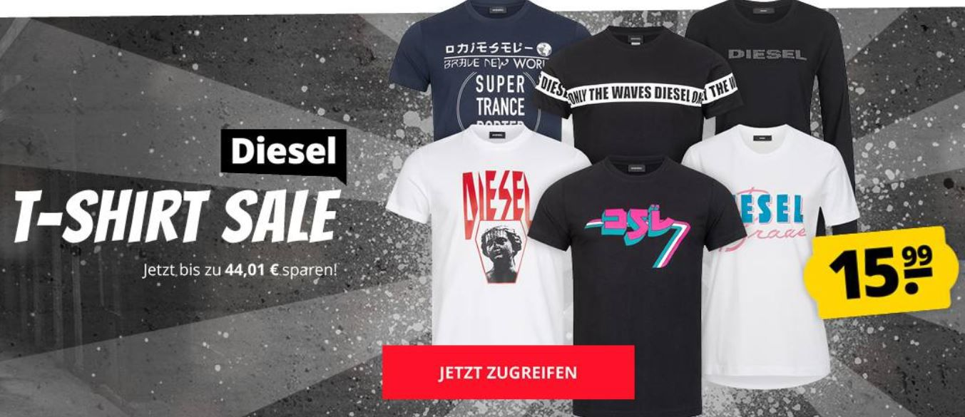 Diesel Herren Polo Shirt Sale bei SportSpar   z.B. Diesel T Randy Broken für 31€ (statt 60€) oder Shirts für 19,99€