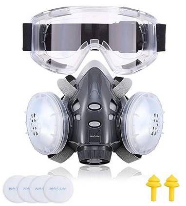 Nasum 308 Schutzbrille mit Atemschutzmaske, Ohrstöpsel & Ersatzfilter für 17,49€ (statt 25€)