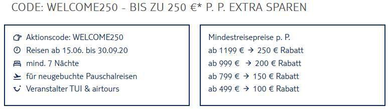 TUI: Bis zu 250€ Rabatt p.P. bei Pauschalreisen