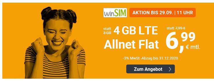 O2 AllNet & SMS Flat + 4GB LTE (max 50MBit/s) für 6,99€ mtl.