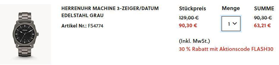 Fossil FS4774 Machine 3 Zeiger/Datum Herren Edelstahl Uhr für 63,21€ (statt 90€)