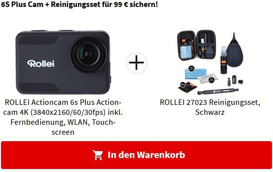 ROLLEI Actioncam 6s Plus Actioncam mit Reinigungsset für 99€ (statt 113€)