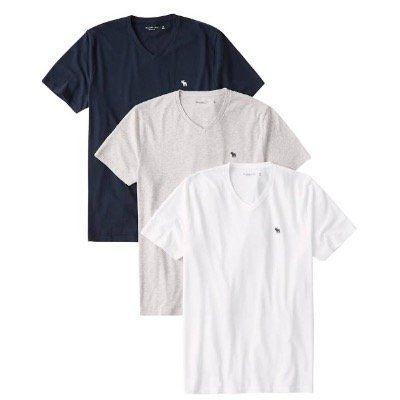 3er Pack Abercrombie & Fitch Vee T Shirts für 39,92€ (statt 66€)
