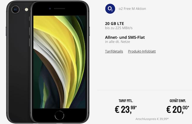 iPhone SE (2020) mit 64GB für 20€ + o2 Flat mit 20GB LTE für 23,99€