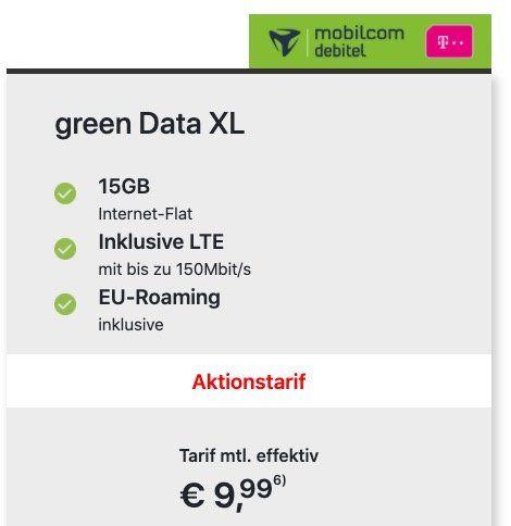 Telekom Daten Flat mit 15GB LTE für 9,99€mtl.