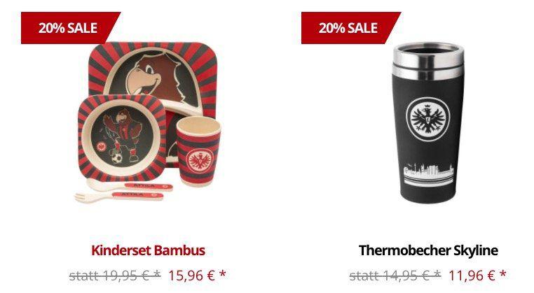 Eintracht Frankfurt Fanshop mit 20% Rabatt auf fast alles + keine VSK ab 15€