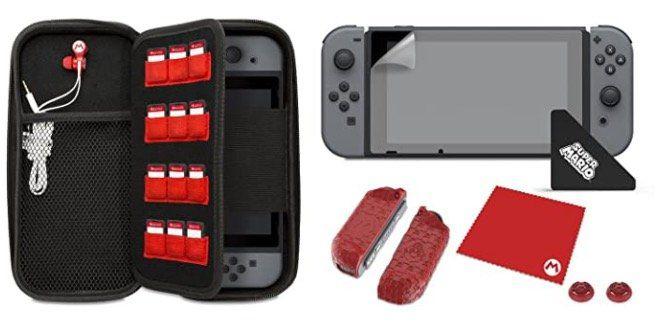 Abgelaufen! Nintendo Switch Super Mario Set (Tasche, Kopfhörer, Folie uvm.) für 14,38€ (statt 30€)