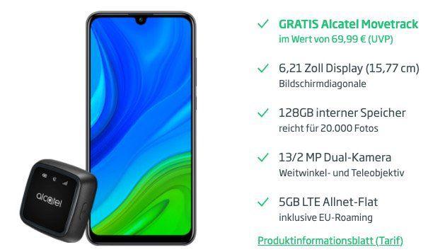 Huawei P smart 2020 mit 128GB + Alcatel Movetrack für 8,13€ + o2 Flat mit 5GB LTE für 12,49€mtl.