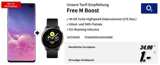 Samsung Galaxy S10 Plus 128GB + Galaxy Watch Active für 1€ mit O2 Allnet Flat mit 40GM LTE Max für 34,99€ mtl.
