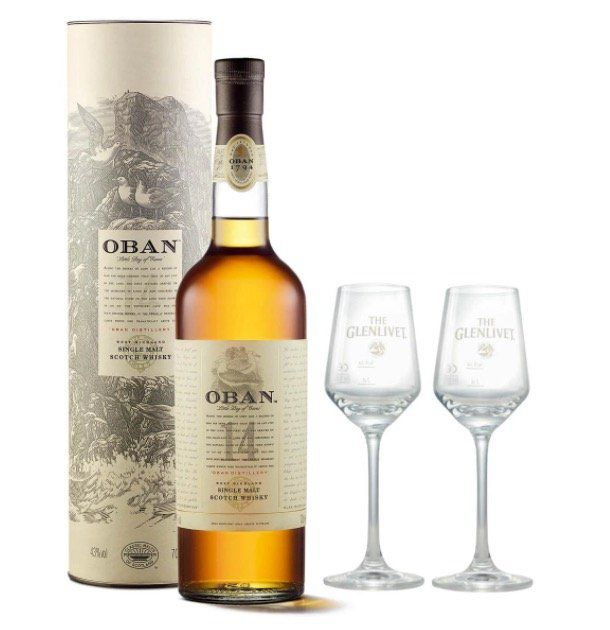 Oban 14 Years Single Malt Scotch Whisky + 2 Glenlivet Nosing Gläser für 43,49€ (statt 55€)
