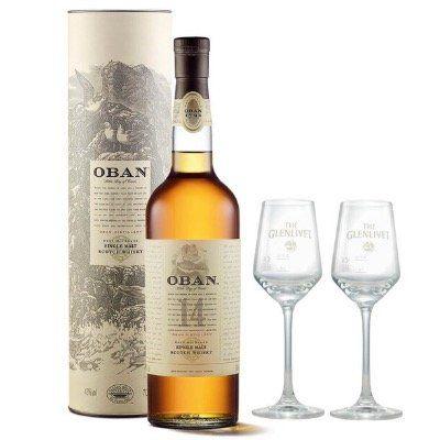 Ausverkauft! Oban 14 Years Single Malt Whisky 0,7 Liter mit 2 Nosing Gläsern für 43,49€ (statt 57€)