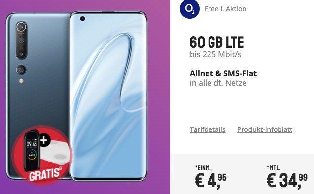 Xiaomi Mi 10 + Mi Band 4 + Waage für 4,95€ + o2 Flat 60GB LTE für 34,99€ oder Vodafone Flat 15GB LTE für 36,99€ mtl.