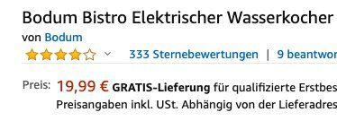Bodum Bistro elektrischer Wasserkocher 1 Liter für 19,99€ (statt 31€)