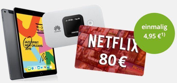 Knaller!🔥 Apple iPad 10.2 (2019) + 80€ Netflix Gutschein + Huawei Hotspot für 4,95€ + o2 Flat inkl. unlimited LTE für 39,99€ mtl.