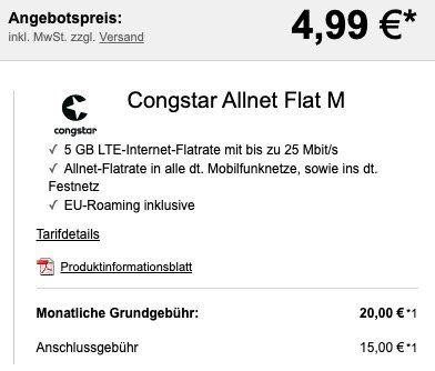 Xiaomi Mi 10 Lite 5G für 4,99€ + Telekom Flat von Congstar mit 5GB LTE für 20€ mtl.   VoLTE & WLAN Call dabei
