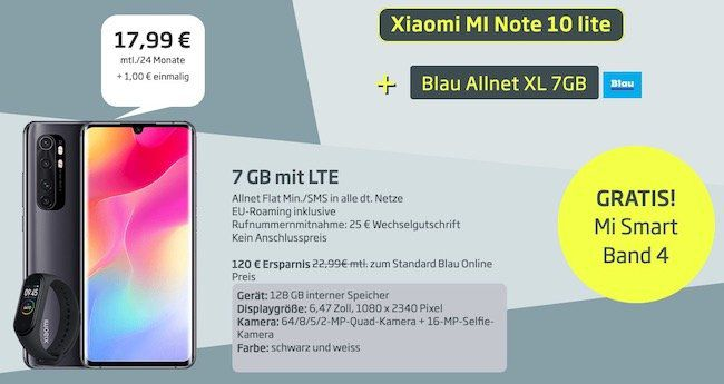 Xiaomi Mi Note 10 lite + Mi Band 4 für 1€ + o2 Flat mit 7GB LTE für 17,99€ mtl.