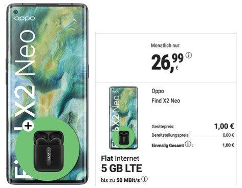 Oppo Find X2 Neo mit 256GB inkl. Enco Free für 1€ mit O2 Allnet Flatrate mit 5GB LTE für 26,99€ mtl.
