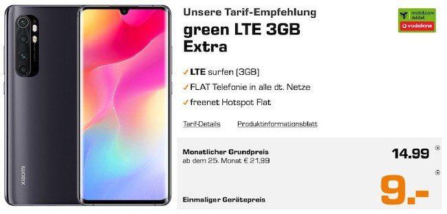Abgelaufen! Xiaomi Mi Note 10 Lite für 9€+ Vodafone Flat mit 3GB LTE für 14,99€mtl.